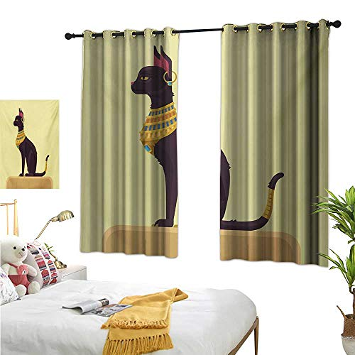 Egypt Thermal Insulating Blackout Curtain Antique Ancient Times Mystical Cartoon Style Cat with Earring Image W55 x L63,Suitable for Bedroom Living Room Study, etc.