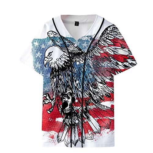 NEARTIME Men's&Womens Loose Shirts Summer USA Flag Printed Short Baseball Uniform Jacket Couple Casual Blouse