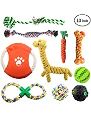ONBET 10pcs Pet Dog Toys Durable Puppy Pet Rope Chew Toy Set Non-toxic Material Vibrant Colors Attractive Design for Dogs
