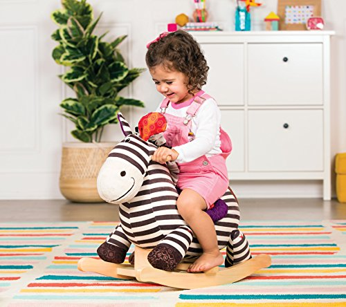 B toys – Kazoo Wooden Rocking Zebra – Rodeo Rocker – BPA Free Plush Ride On Zebra Rocking Horse for Toddlers and Babies 18m+ by B. toys by Battat (Image #5)