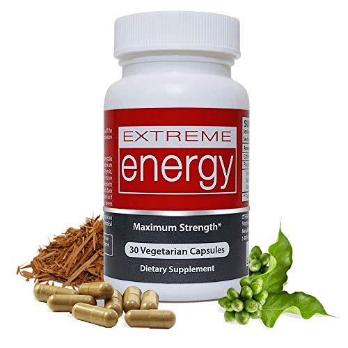 Extreme Energy - 100% Natural Energy Pills Maximum Strength - Boosts Energy, Increase Endurance, Focus, Alertness, No Crash - 30 Vegetarian Capsules, 100mg Natural Caffeine - Herbal Nitro® (Boost Extreme Energy)