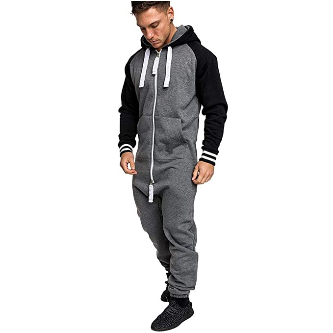 mens-christmas-onesie-jumpsuit-one-piece-non-footed-pajamas-unisex-adult-hooded-overall-hoodie-zip-up-playsuit-xmas-romper-(grey,-m) by mayunn