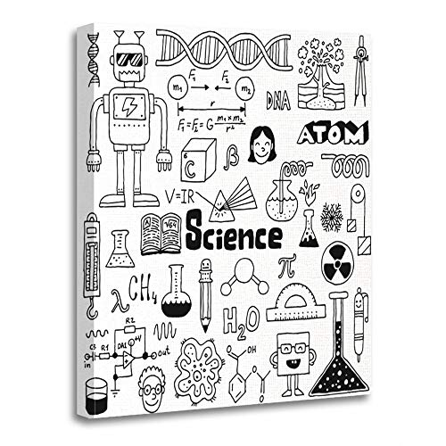 Emvency Painting Canvas Print Artwork Decorative Print Wooden Frame Fun School Science Doodles Drawn Math Volcano DNA Chemistry Pen Sketch 16x20 Inches Wall Art for Home Decor -