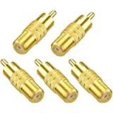 VCE 5-Pack F Type Female to RCA Male Coaxial Cable Audio Adapter Connector,Gold Plated