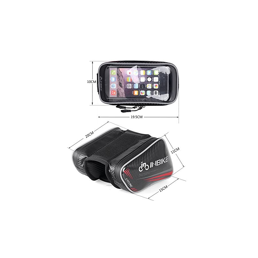 "Inbike 6"" Bike Top Tube Phone Bag, Waterproof Touch Screen Cellphone Case"