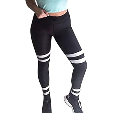 e9b287000382d5 HOMEBABY Stripe Women's Leggings - Ladies Yoga Sports Workout Gym Fitness  Exercise Jumpsuit Athletic Skinny Pants Girls Slim Running Clothes Fitness  Stretch ...