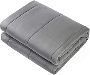 """Waowoo Weighted Blanket Adult,25lbs 60""""x80"""" for Natural Restful Sleep. (Inner Layer Dark Gery)"""