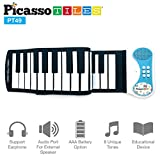 Electronics Features Best Deals - PicassoTiles PT49 Kid's 49-Key Flexible Roll-Up Educational Electronic Digital Music Piano Keyboard w/ Recording Feature, 8 Different tones, 6 Educational Demo Songs & Build-in Speaker - Blue