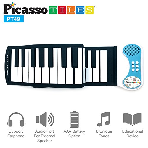 Educational Keyboard (PicassoTiles PT49 Kid's 49-Key Flexible Roll-Up Educational Electronic Digital Music Piano Keyboard w/ Recording Feature, 8 Different tones, 6 Educational Demo Songs & Build-in Speaker - Blue)