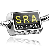 Charm SRA Airport Code for Santa Rosa - Bead Fit All European Bracelets , Neonb