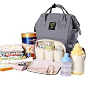 SUNVENO Baby Diaper Bag Mummy Maternity Nappy Bag Large Travel Backpack Nursing Bag for Baby Care (Gray)