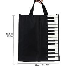 Music Symbols Print Canvas Tote - Simple Loving Music Symbols Print Canvas Tote Handbag Shoulder Shopping Bags Gift (Black-MG-339)