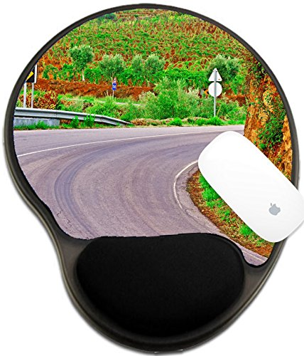 Luxlady Mousepad wrist protected Mouse Pads/Mat with wrist support design IMAGE ID: 27110814 Asphalt Road between Hills Covered with Vineyard in - Gold Hot Portugal