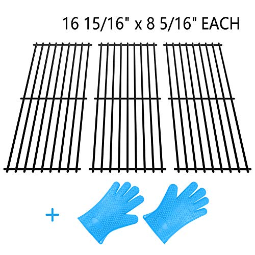 SHINESTAR Grill Grates Replacement for Charbroil 463251605, Thermos, Kenmore, Master Chef and More, Porcelain Coated Steel Grill Grates-16 15/16'' x 8 5/16'' Each, 3-Pack