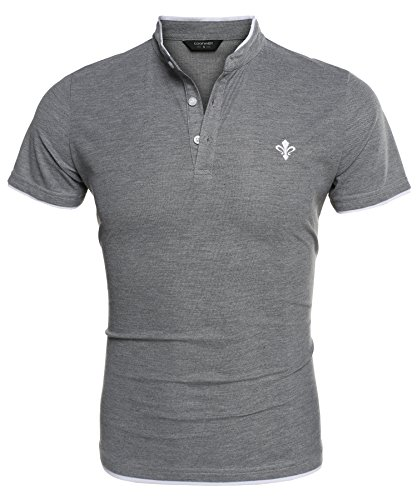 Coofandy Mens Short Sleeve Casual Stand Collar Slim Fit Polo Shirts, Gray, - Brand Fake Polo