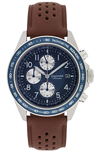 Mens Chronograph Brown Leather (Gigandet Men's Quartz Watch Racetrack Chronograph Analog Stainless Steel Leather Strap Brown Blue G24-009)