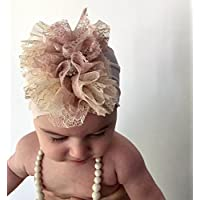 Light Pink Baby Headband, 0-12 Month Old, With Fabric Flower and Rhinestone