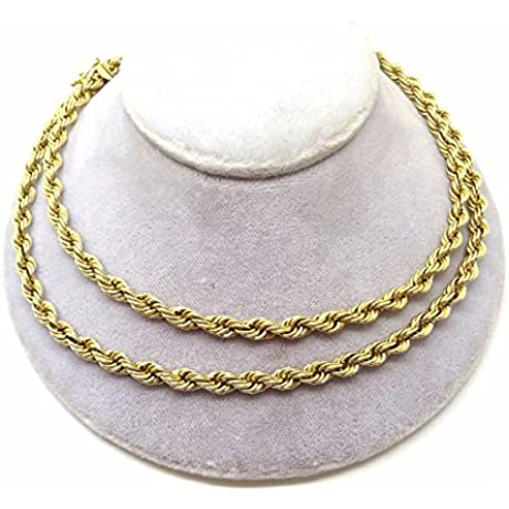 14k Yellow Gold Rope Design Necklace 3651
