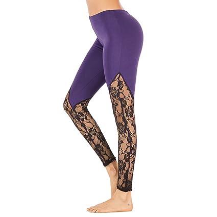 Amazon.com : FANGNVREN Yoga Pants, Fashion Women Black Lace ...