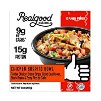 Real Good Foods, Low Carb - Keto Friendly - High Protein - Gluten Free, Chicken Burrito Bowl, 9 Oz. (4 Count)