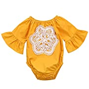 Ma&Baby Floral Newborn Kid Baby Girl Infant Romper Jumpsuit Bodysuit Clothes Outfit 0-24 M (Yellow, 6-12 Months)