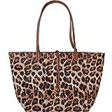 Humble Chic Reversible Vegan Leather Tote Bag - Oversized Top Handle Large Shoulder Handbag Purse, Leopard & Saddle Brown, Tan