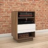 Nexera 105240 Sequence 1-Drawer Audio Cabinet, Walnut & White