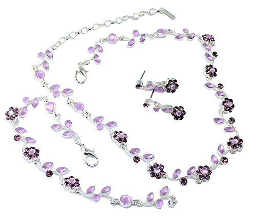 Floral Vine 3-Piece Necklace, Earrings & Bracelet Jewelry Set Nicely Boxed (Lavender) (Channel Set Purple)