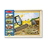 Melissa & Doug Construction Vehicles 4-in-1 Wooden Jigsaw Floor 12-Piece Puzzles, Beautiful Original Artwork, Sturdy Cardboard Pieces, 48 Pieces