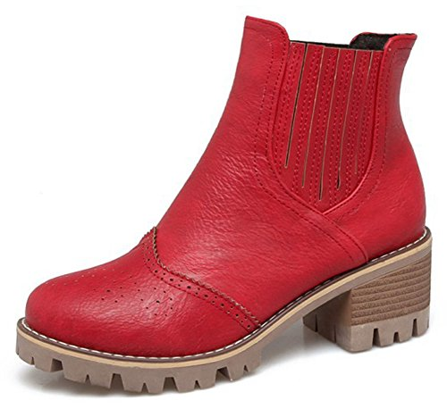 Idifu Womens Mode Pull Sur Mi Talon Chunky Bout Rond Bottines Rouge