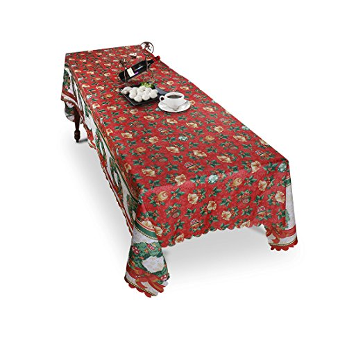 Menghao 60x104 Inches Christmas Square Table Cloth Poinsettia Scroll Printed Fabric Tablecloth - Holiday Bell Floral Printed Kitchen Décor Christmas Scroll