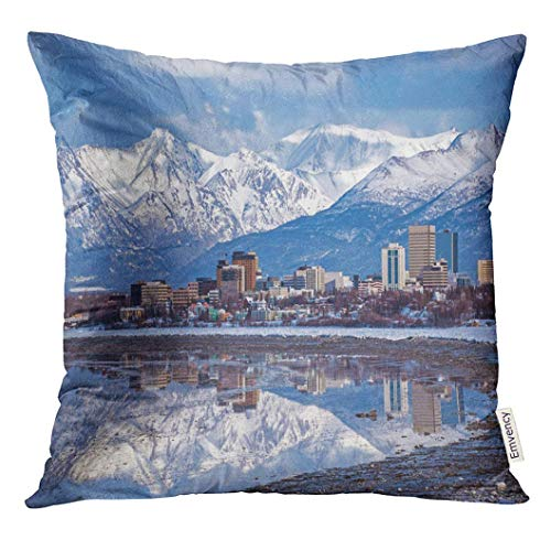 PILLOWCASES K Throw Pillow Cover Alaska Anchorage Skyline with Winter Reflection City Decorative Pillow Case Home Decor Square 18x18 Inches Pillowcase ()