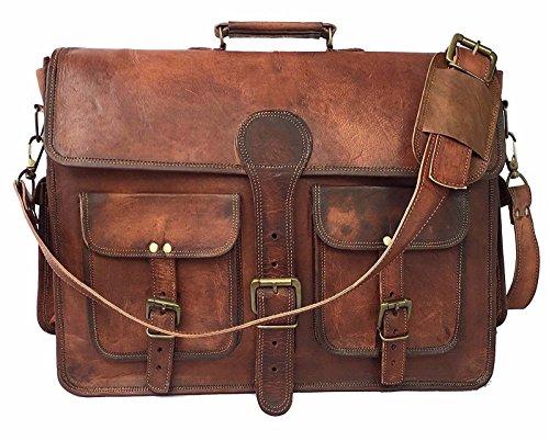 18 Inch Vintage Handmade Leather Messenger Bag for Laptop Briefcase Best Computer Satchel School 18in Brown Leather