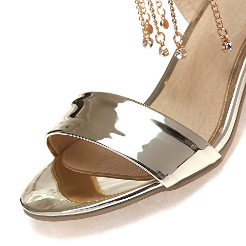 Leather Buckle Sandals Patent AgooLar Solid Gold Open Heels Toe Women's Kitten PHnwqIU