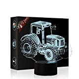 Tractor 3D Lamp Optical Illusion Night Light, Jawell 7 Color Changing Touch Table Desk Lamps with Acrylic Flat & ABS Base & USB Cable for Awesome Gif