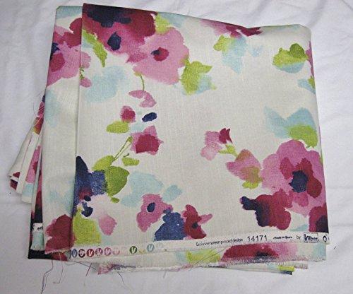 Ecru Print (Vilber Screen Print Fabric-Pink Floral on Ecru/Cream-BTY-Drapery/Home Decor (#39))