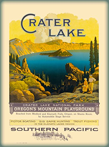 Pacific Railroad Stock (A SLICE IN TIME Crater Lake National Park Oregon Southern Pacific Railroad Vintage United States Travel Wall Decor Advertisement Poster. 10 x 13.5 inches.)