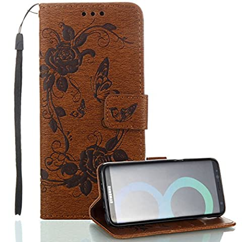 Galaxy S8 Wallet Case, phone case for Samsung S8, JanCalm [Multi Card/Cash Slots] Flip Cover Wallet PU Leather with Stand + Wrist Strap Case for Samsung Galaxy S8 + Crystal pen (Butterfly - - Brown Phone