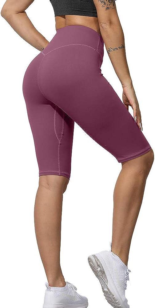 Uoohal Yoga Shorts,Tummy Control,Womens Sports Shorts,High Waisted Workout Pants,Soft Running Yoga Leggings