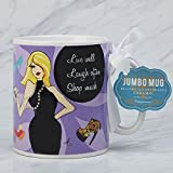 Certified International Jumbo Mugs - Everyday Live Well, Laugh Often, Shop Much 30 oz.