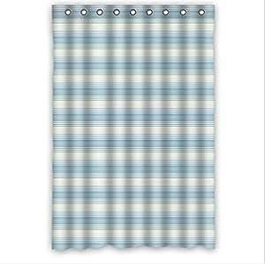 Best Seller Retro Holiday Stripes Blue Stripe Custom 100% Polyester Waterproof Shower Curtain 48 x 72