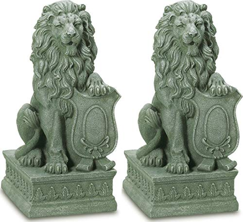 Adumly Set of 2 Lion Regal entryway Step Stair Outdoor Garden Guardian Statue Sculpture
