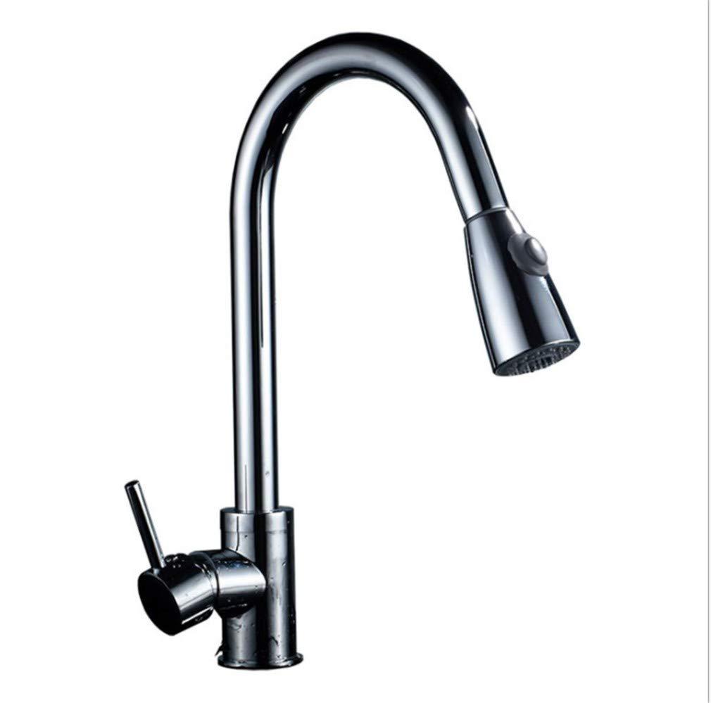 Edelstahl Einhand Wasserhähne Küche Küchenarmatur Pull-Typ Kalt-Und Warmwasser Bad Waschbecken Waschbecken Sitzen Rotation