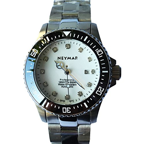 NEYMAR 31mm Automatic watch 500m Dive Watch Swiss 2824 Automatic Movement black face (stainlelss stee/white surface) by NEYMAR