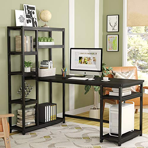 Tribesigns 67 Inches Large Computer Desk with 9 Storage Shelves, Office Desk Study Table Writing Desk Workstation with Hutch Bookshelf for Home Office, - Hutch Bookshelf
