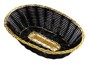 "New Star Foodservice 44256 Polypropylene Oval Hand Woven Food Basket (Set of 12), 9"" x 6.25 x 2.25"", Black with Golden Trim"