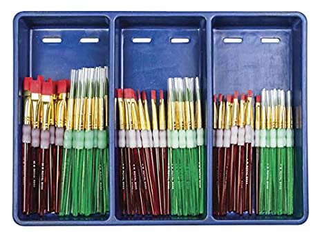 Royal Brush 405892 Big Kids Choice Paint Brush and Apron Combo Pack, Assorted Sizes,Blue