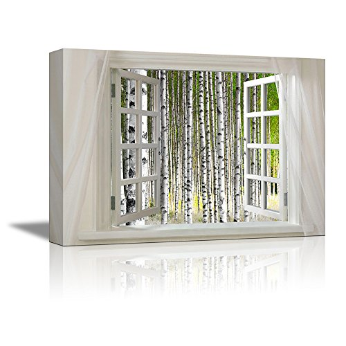 Glimpse into Birch Trees Forest out of Open Window Wall Decor ation