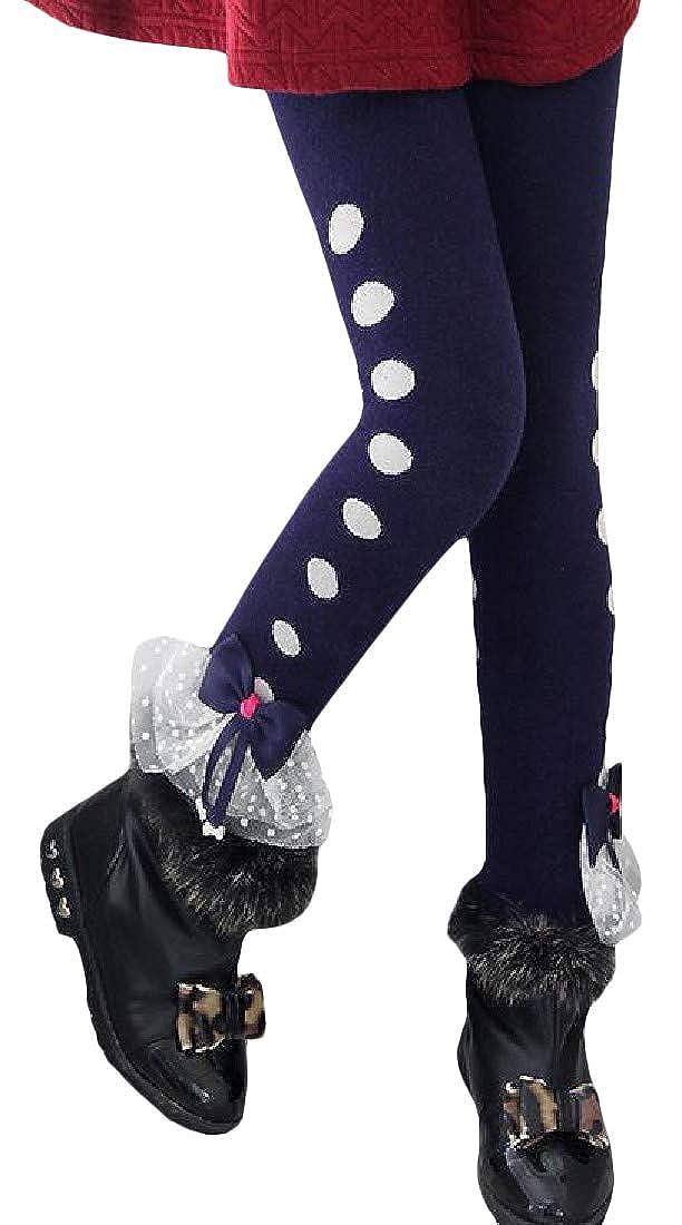 Bigbarry Girls Princess Bowknot Fleece Thick Stretch Pants Cute Legging