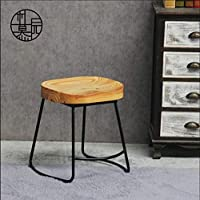 HRFFCLH Solid Wood Wrought Iron bar high Stool Structure Sturdy high Footstool, Load-Bearing Strong Wrought Iron Living Room Stool,H45CM